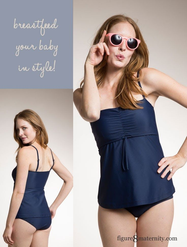 A smocked bust and flared bodice combine to create an adorable maternity and nursing tankini. It features thin adjustable shoulder straps, which can also be worn as a halterneck or completely removed. The center of the overlap is ruched and equipped with Boob's smart nursing function, which allows you to nurse discreetly without exposing your belly or breast. A drawstring below the overlap allows you to adjust the fit, so that it is as flattering during pregnancy as well as nursing…