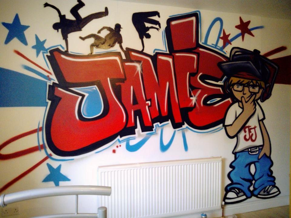 Children teen kids bedroom graffiti mural for Graffiti jugendzimmer