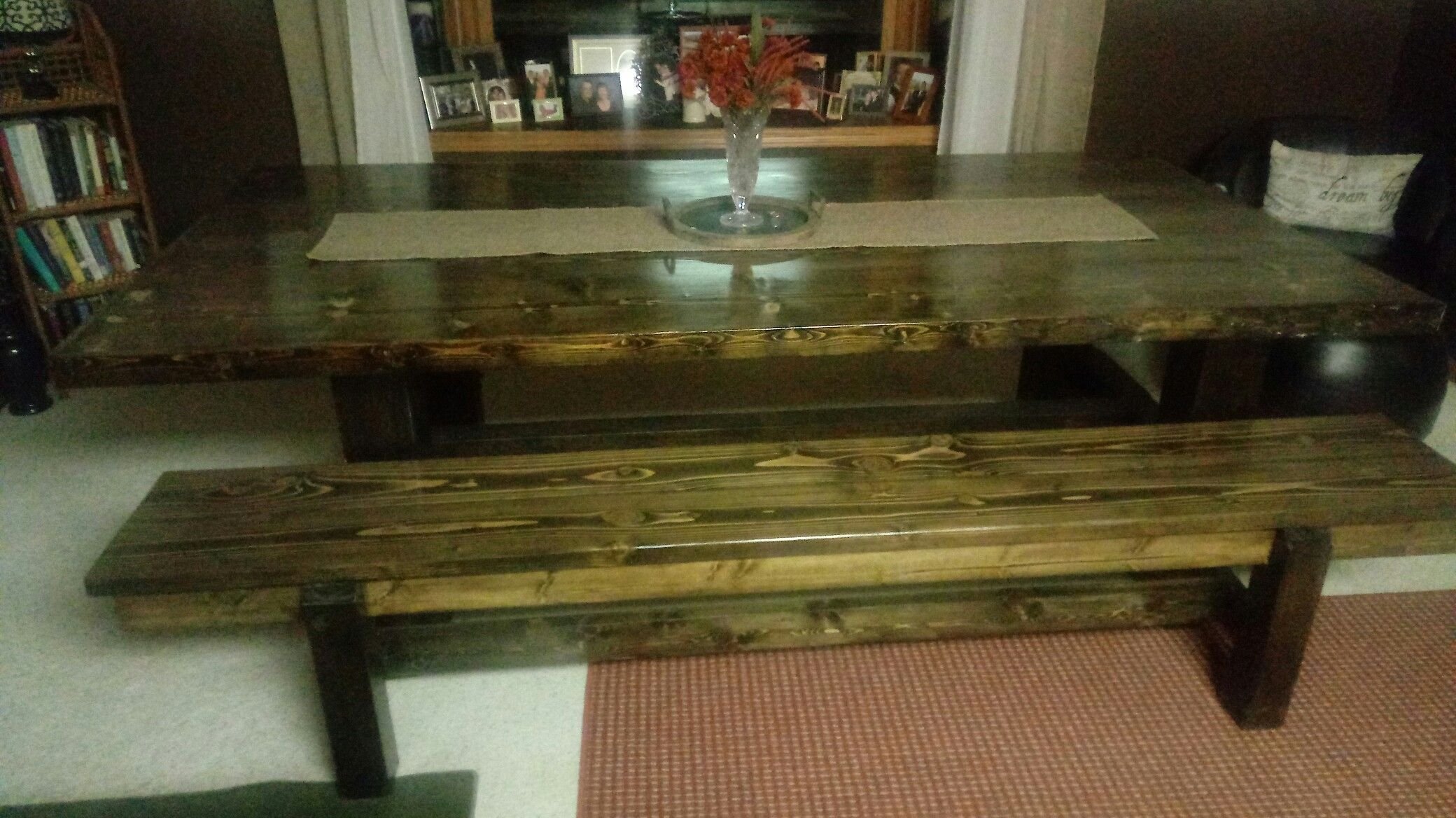 Farm style dinning table and bench seat