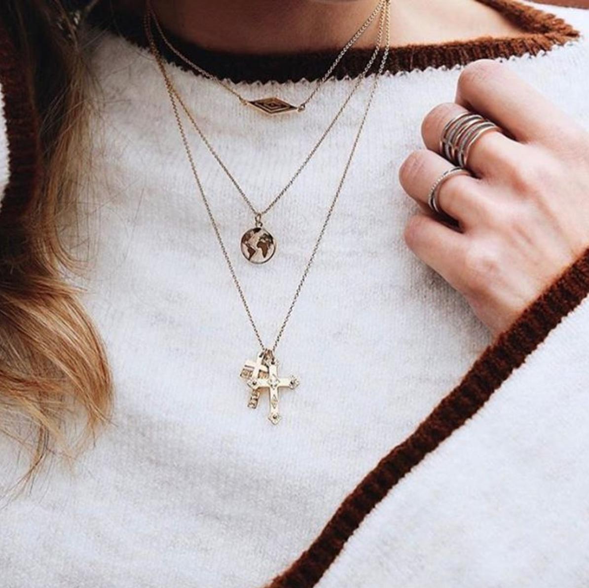 60d14b42744766 SHOP NOW Multi Cross Necklace, World Necklace & Eye Chocker • www.maria- pascual.com #mariapascual #mariapascualnecklaces #necklace #gold #jewelry  #choker ...