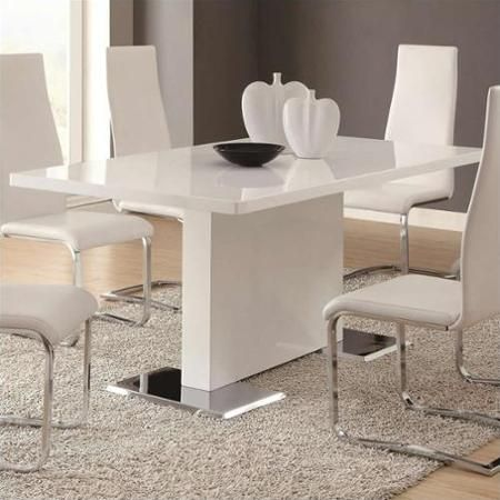 Coaster Modern Dining White Dining Table In White Walmart Com Modern Dining Room Set White Dining Room Contemporary Dining Room Sets