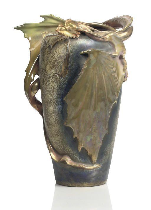 Amphora Riessner Stellmacher Kessel A Two Winged Dragon Vase