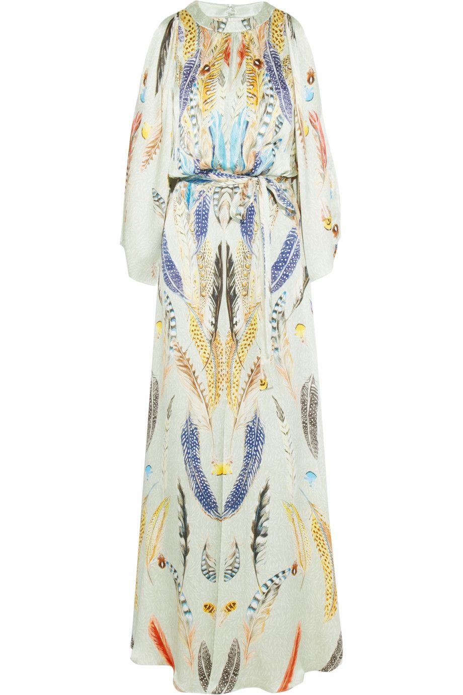 Temperley London-Feather-print hammered-silk satin gown