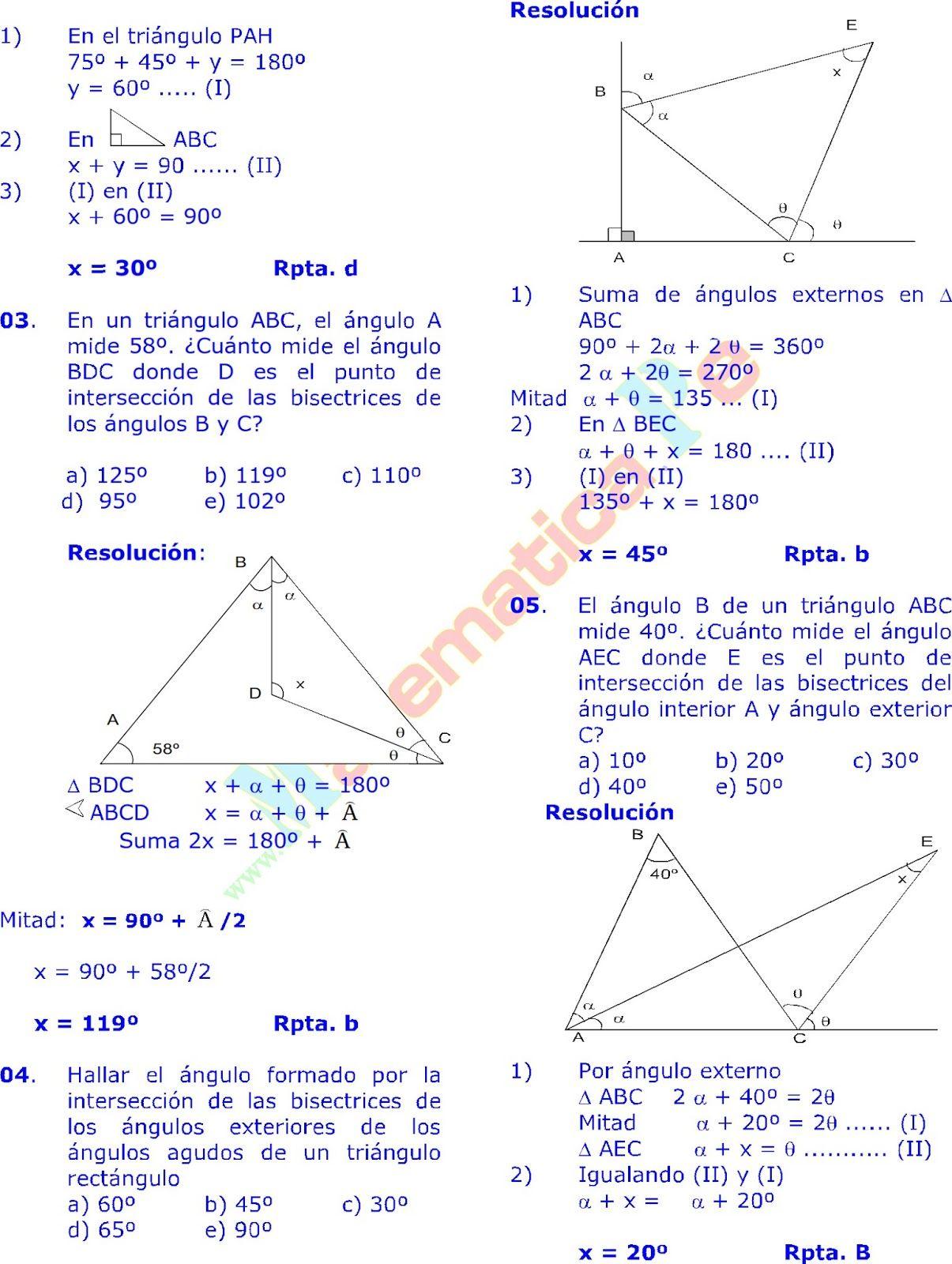 Los Triangulos Y Sus Propiedades Ejercicios Resueltos De Geometria