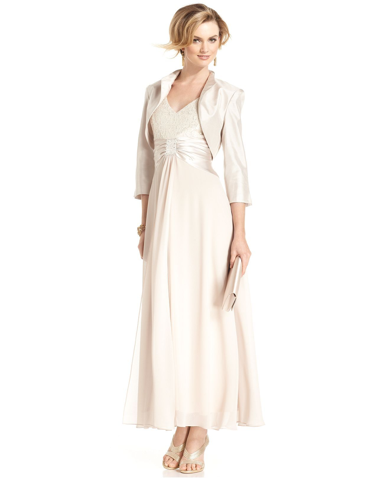Jessica Howard Dress and Jacket, Sleeveless Lace Satin Gown - Womens ...