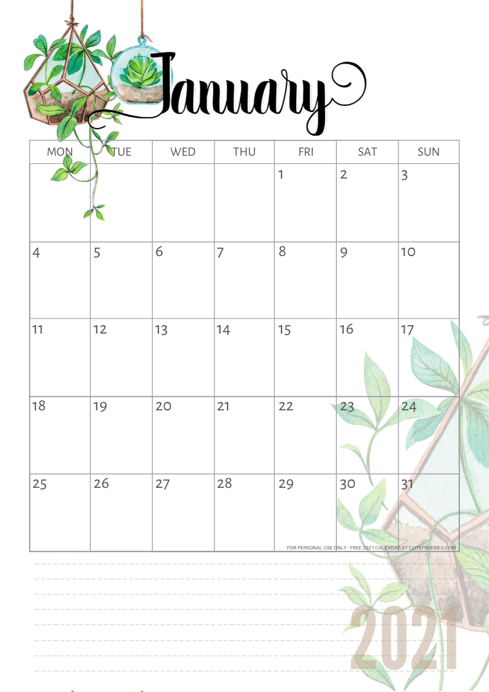 2021 Calendar Free Printable Plants Theme Cute Freebies For You In 2020 Free Printable Calender Planner Printables Free Free Printable Calendar