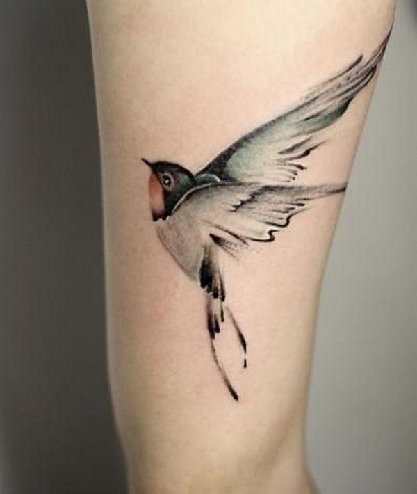 Very Beautiful Bird Tattoo Design On Leg | Beautiful birds, Tattoo ...