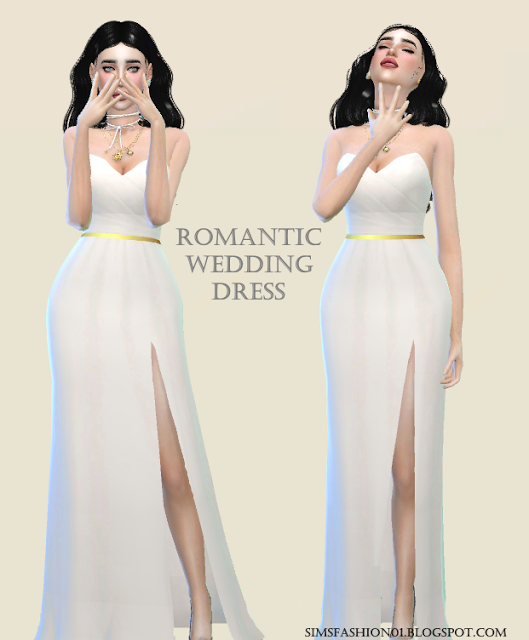 4a22fba23 Sims Fashion01  SimsFashion01 - Wedding Dress With Gold Belt (The Sims 4)