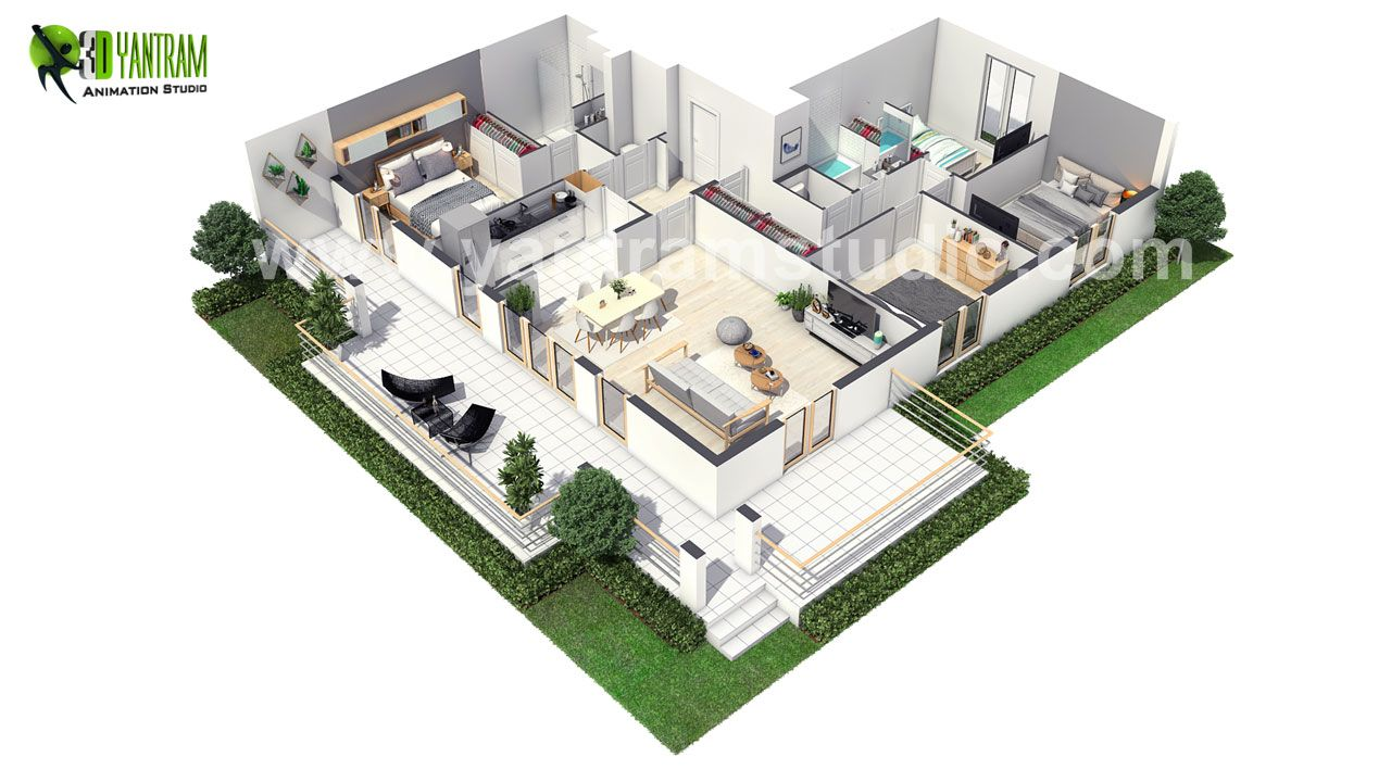 European Style 3d Home Interior Floor Plan And Bedroom Interior
