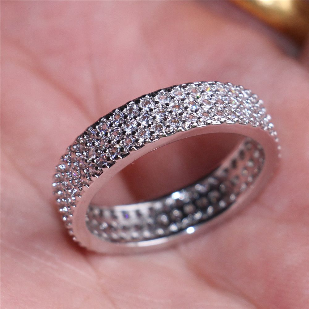 choucong Jewelry Luxurious 10KT white gold filled 3 Rows Pave ...