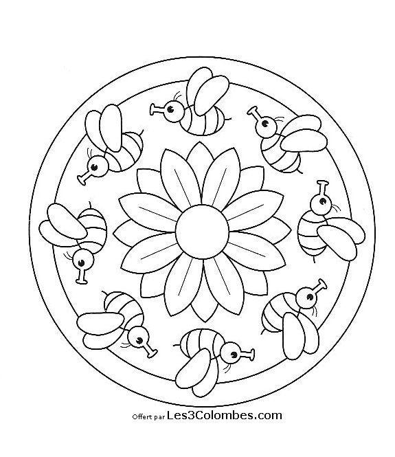 mandalas faciles | Mandala | Pinterest | Insectes, Abeilles et Coloriage