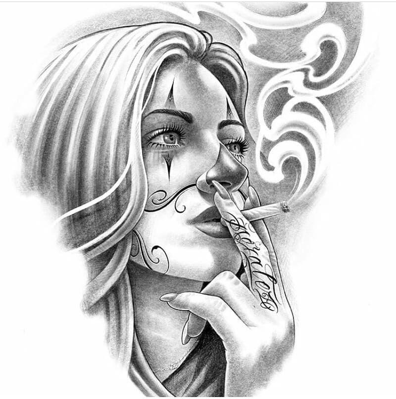 Mexicanstyle Art Payasa By Moralez Xv3st Mexicanstyle Art Art Arte Drawing Payasa Clowngirl Chicano Style Tattoo Chicano Drawings Chicano Art Tattoos