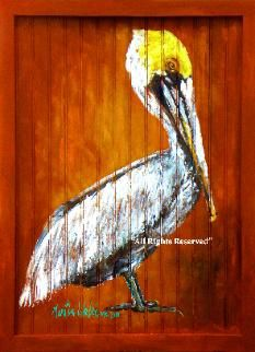 Pelican Painting On Wood By Martin Welch Louisiana Artist
