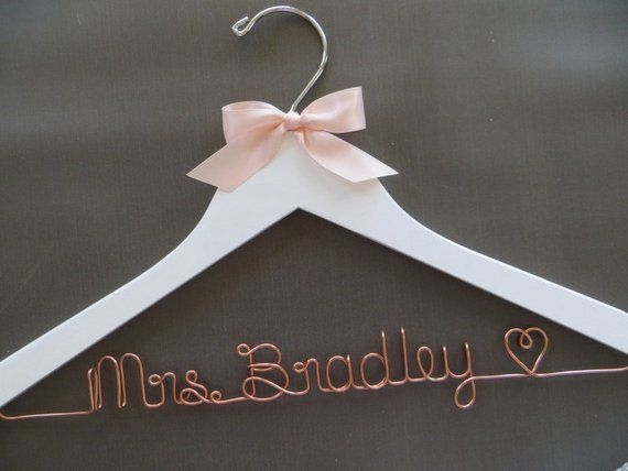 Bridal Hanger Wedding Hangers Personalized Bride Hanger Mrs Hanger Custom Hanger Unique Hanger Wedding Dress Hangers Home Kitchen