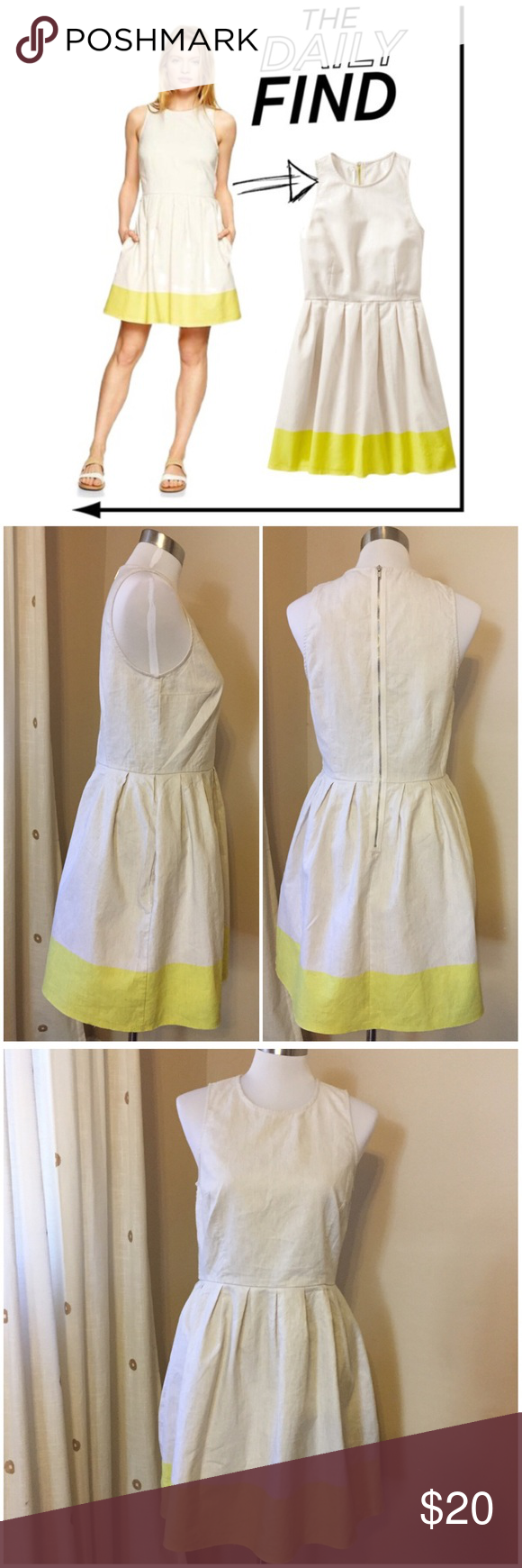"""NWT Gap Linen Fit & Flare Yellow Stripe Dress Sz 8 Gap Linen Fit & Flare Yellow Stripe Dress 8 - size 8 - 100% linen - back exposed silver zipper - 18"""" bust  - 15"""" waist - 35"""" length - heathered oatmeal colored linen, with bright yellow stripe at hem of skirt - empire waist is 15"""" from shoulder  - new with tags GAP Dresses"""
