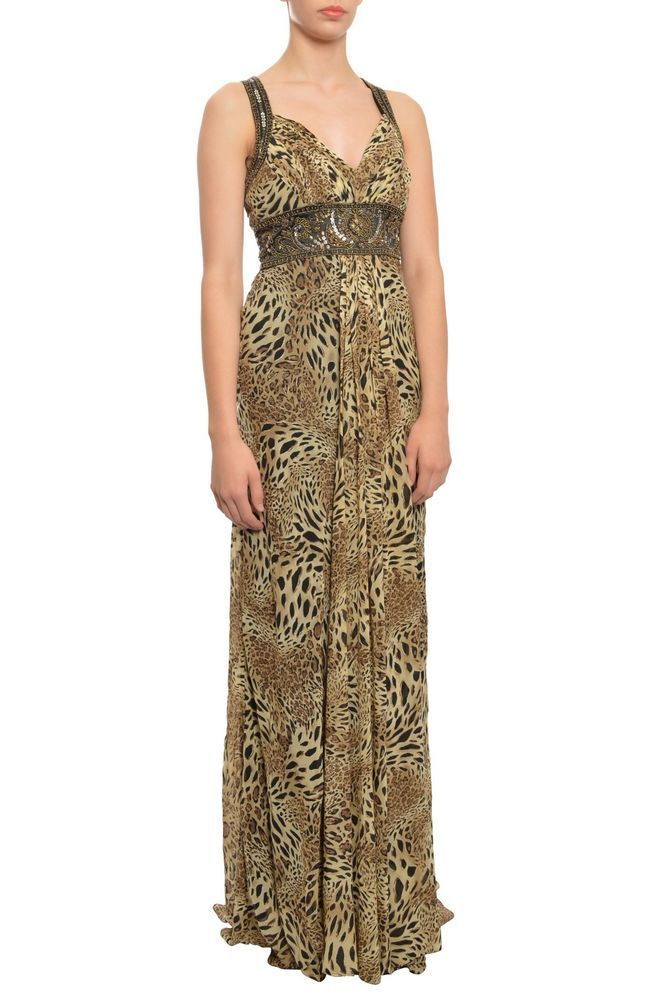 SUE WONG Animal Print Beaded Chiffon Long Evening Gown Dress 2 NEW ...