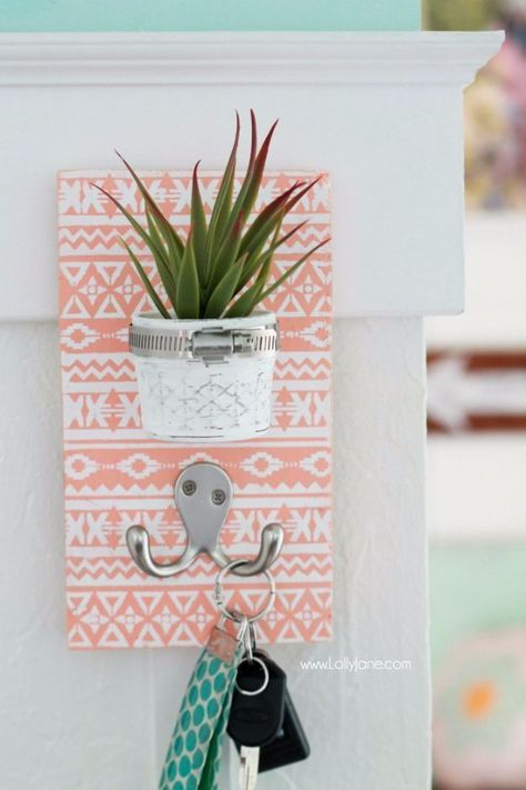 DIY Teen Room Decor Ideas For Girls | DIY Stenciled Succulent Key Hook |  Cool Bedroom Decor, Wall Art U0026 Signs, Crafts, Bedding, Fun Do It Yourself  Projects ...