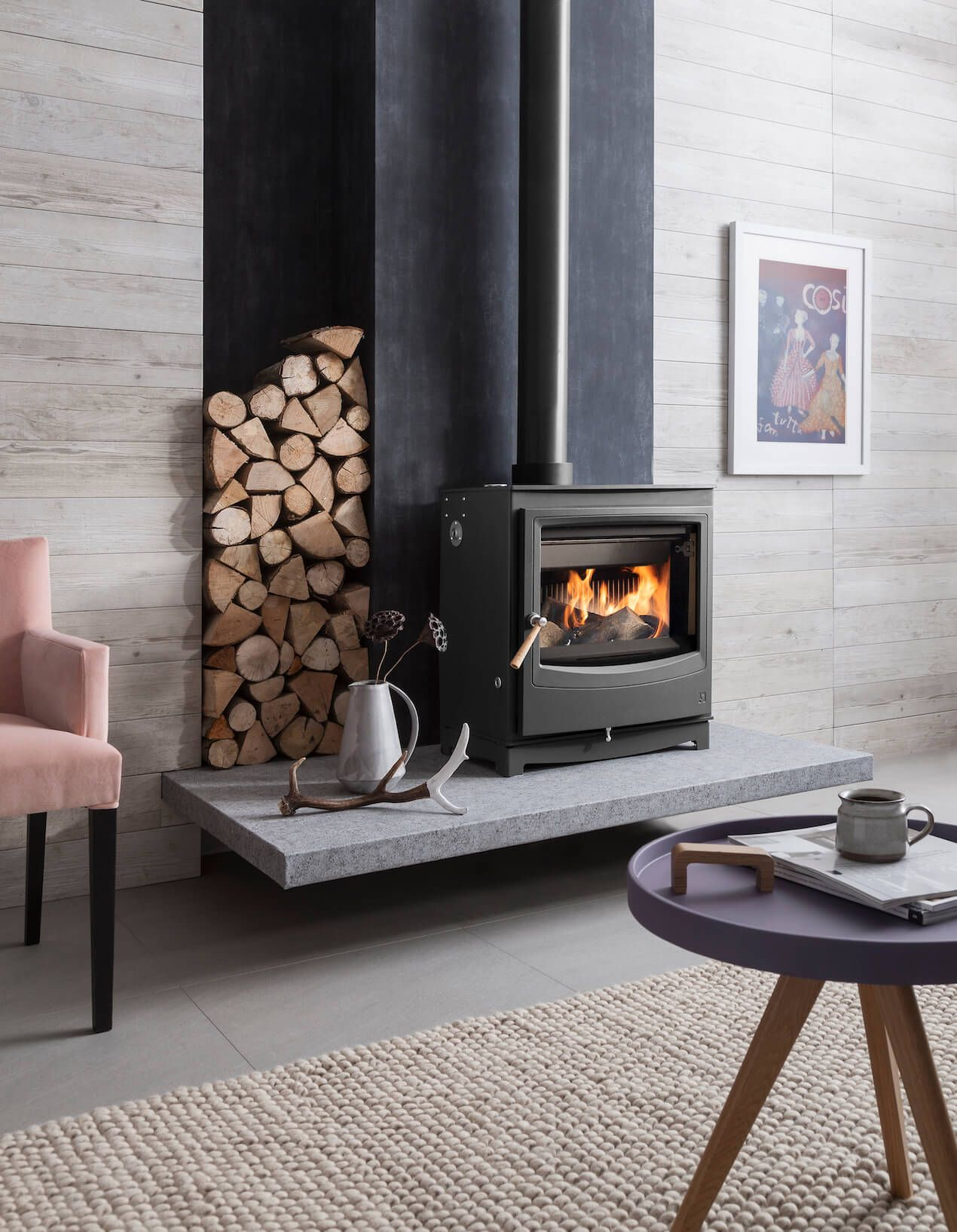 7 Festive Fireplace Styling Ideas Welovehome Home Wood Burning Stoves Living Room Freestanding Fireplace Home Fireplace