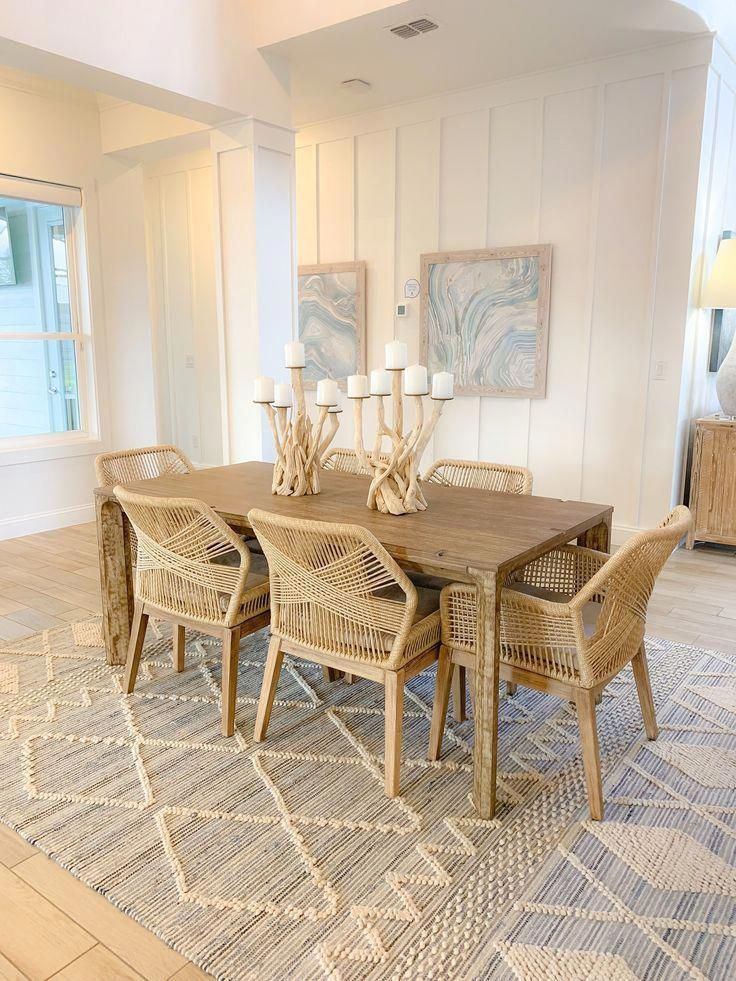 Beach Walk House Tour Coastal Chic Design And Decor Ideas Light Wood Dining Table With Wicker Cha In 2020 Beach House Dining Room Chic Beach House Beach House Tour