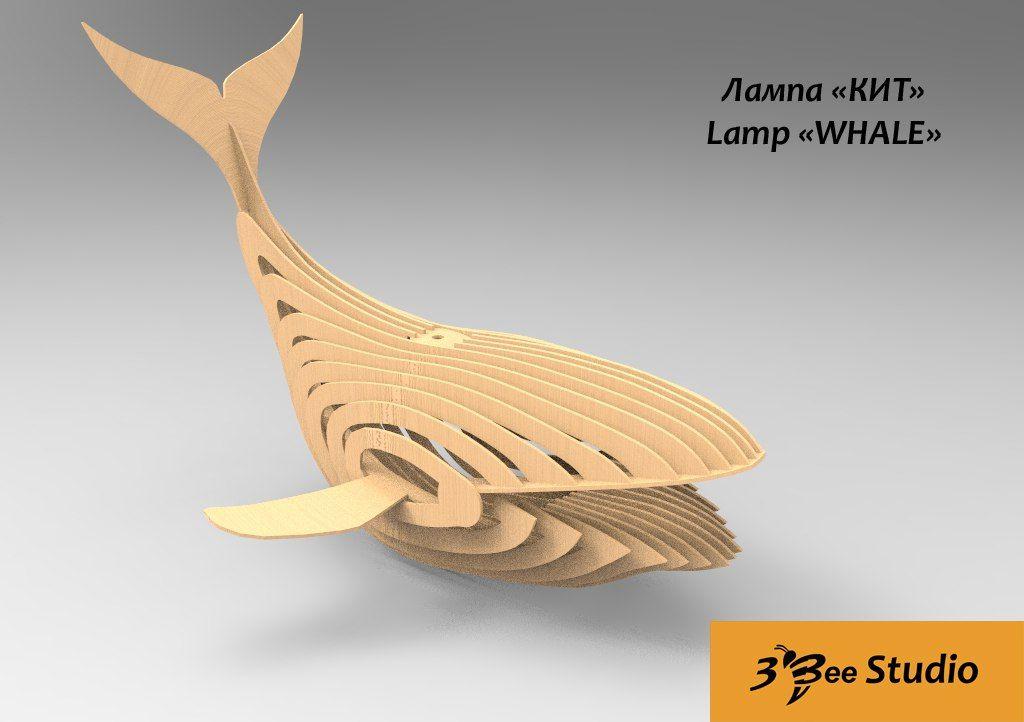 Whale Lamp 3d Puzzle Plan Dxf File Lampe Chat Decoupe Laser Bois Jouets En Bois