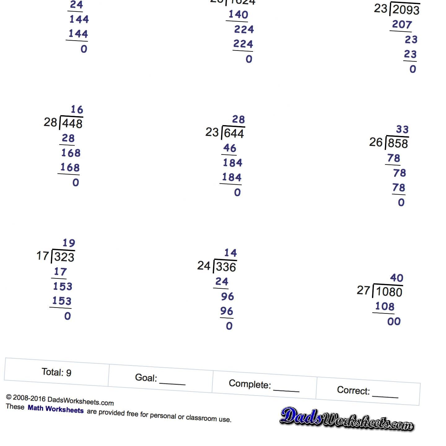 Long Division Worksheets, printable with answer keys that show all ...