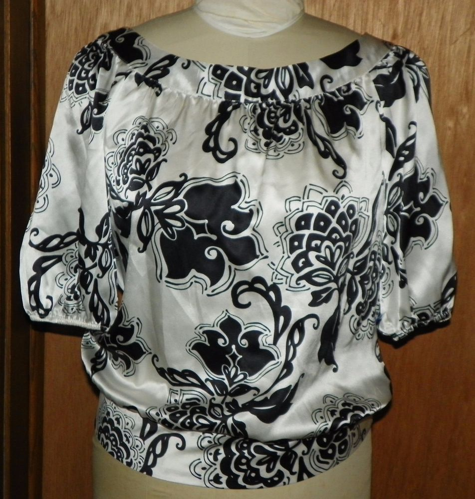 188d7f32c55ff6 White House Black Market White and Black Floral Boho Silk Shirt Blouse Size  M  WhiteHouseBlackMarket  PeasantBoho  CasualDressy