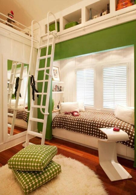 I like the little stairs and the bed by the window