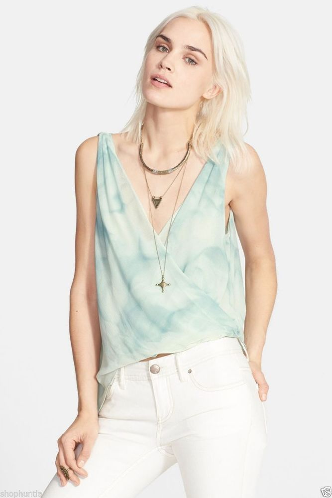 Free People Sleeveless Sexy V Neck Sea Wrapped Tank Blouse Top Ocean