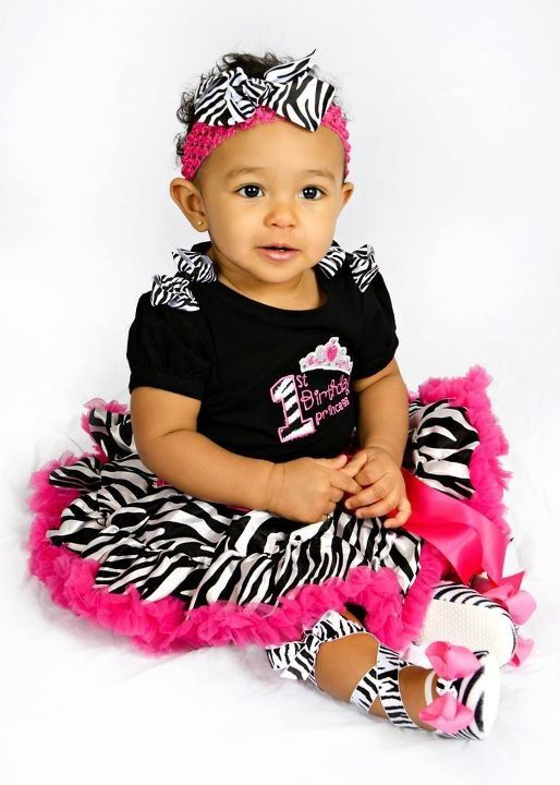 First Birthday Princess Zebra Hot Pink Pettiskirt Set w Boutique