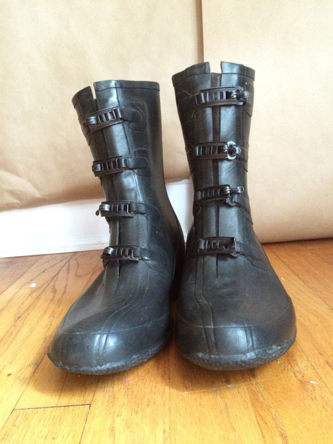 vintage 1960's rubber galoches / black rubber boots / overshoes ...