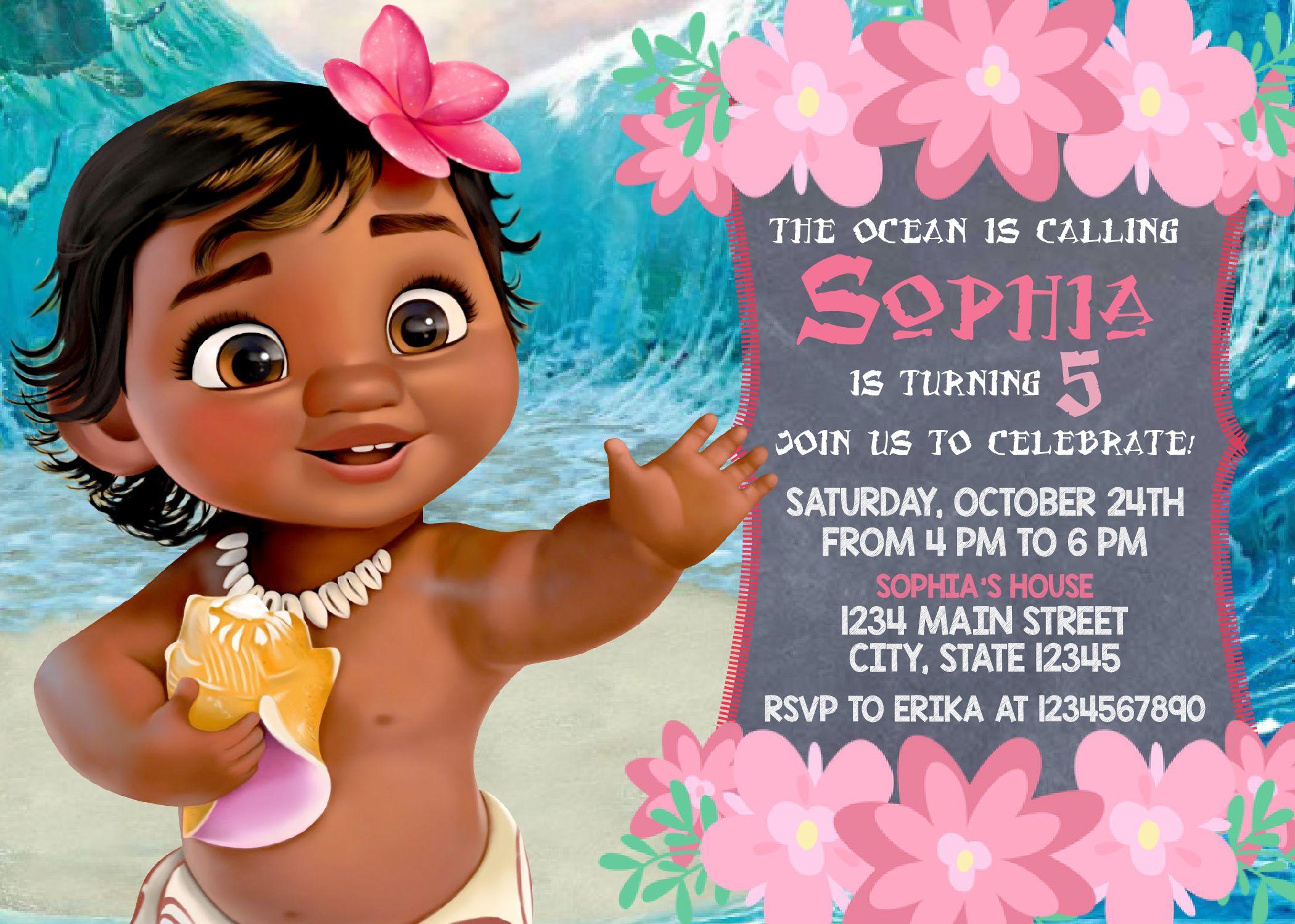 moana printed invitation moana invite