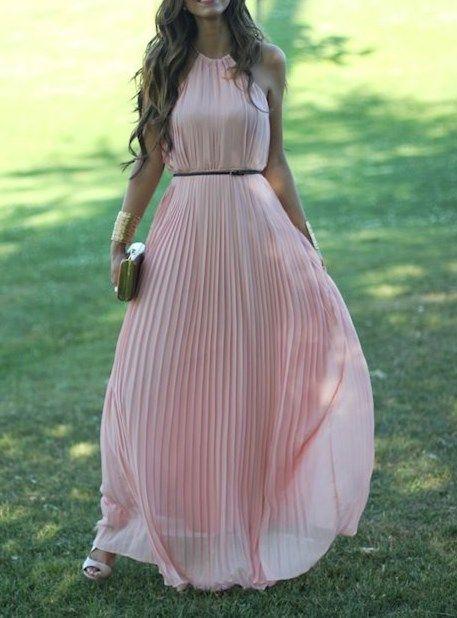 2017 Custom Made Charming Pink Chiffon Prom Dress,Sexy Halter ... c9c49d467b