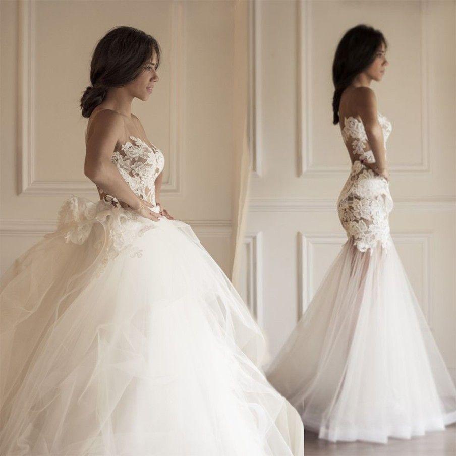 Fashion Detachable Skirt Lace Mermaid Wedding Dresses See Through ...
