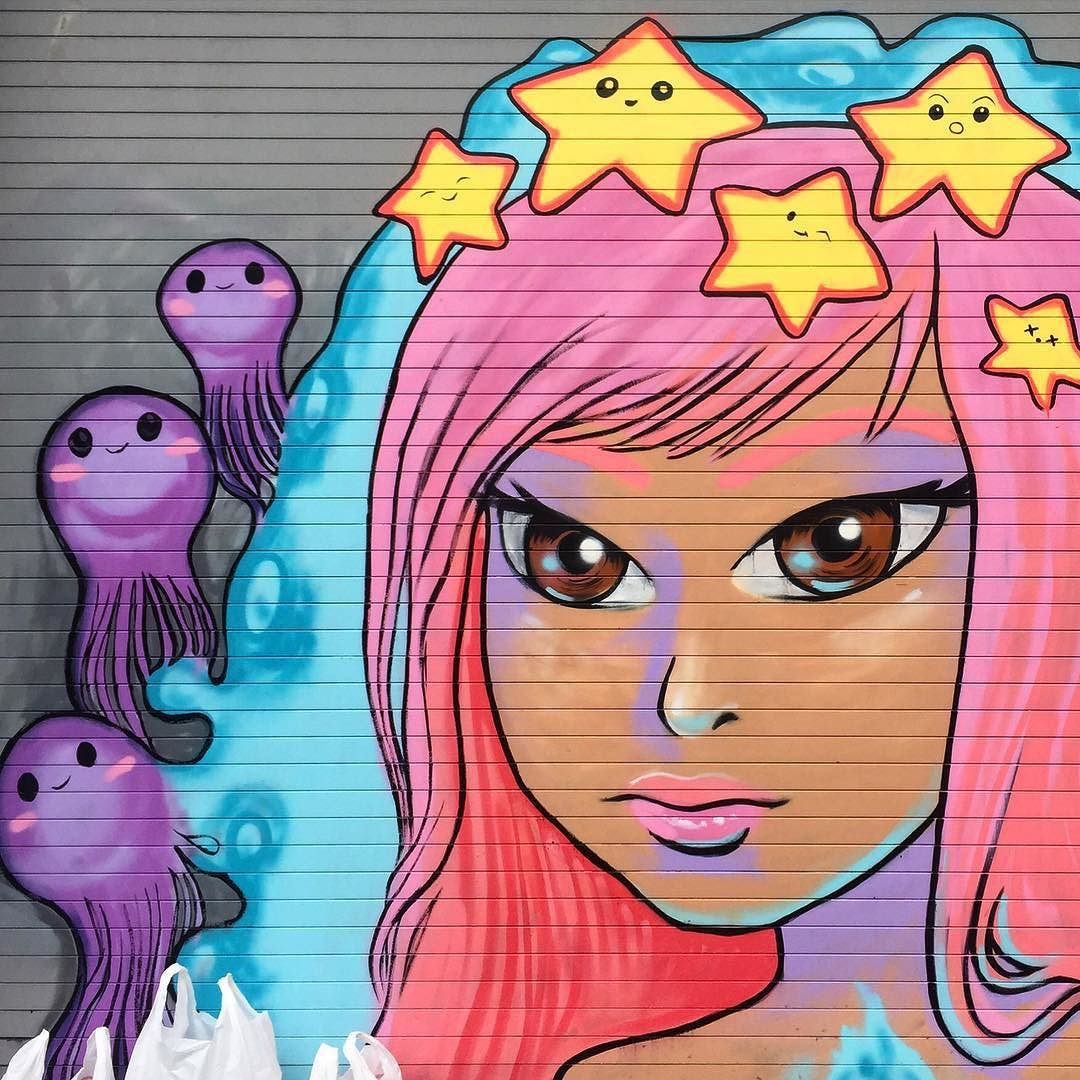 "catscoffeecreativity: ""Sweet mermaid in progress by @chiibot at 2150 NW Miami Ct Wynwood Miami.  #WIP #chii #chiibot #rollgateart #miamiart #wynwoodmiami #wynwood #tv_streetart #rsa_graffiti #gullysteez #instagrafite #miamistreetart #streetartmiami"""