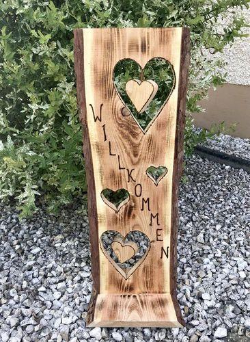 Holzschild Willkommen - Holzfüchse GbR