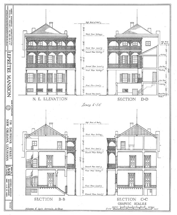New orleans french quarter mansion architectural drawing blueprint new orleans french quarter mansion architectural drawing blueprint elevations and sections giclee print 18x 24 malvernweather Image collections
