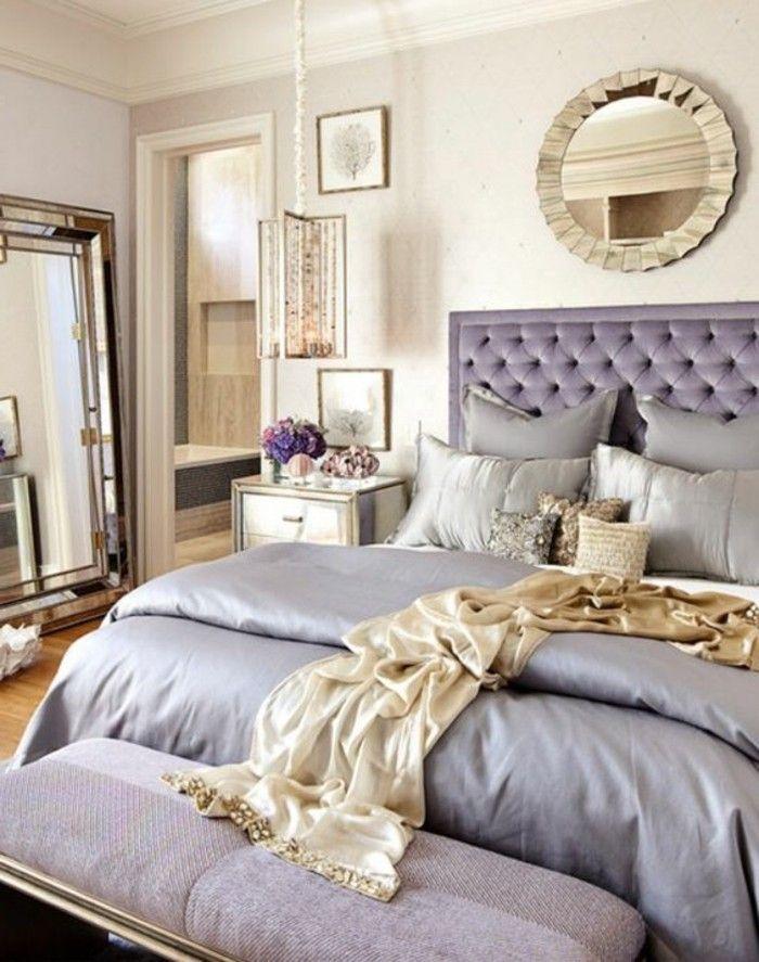 deko schlafzimmer lila spiegel lampe hocker kissen - spiegel für schlafzimmer