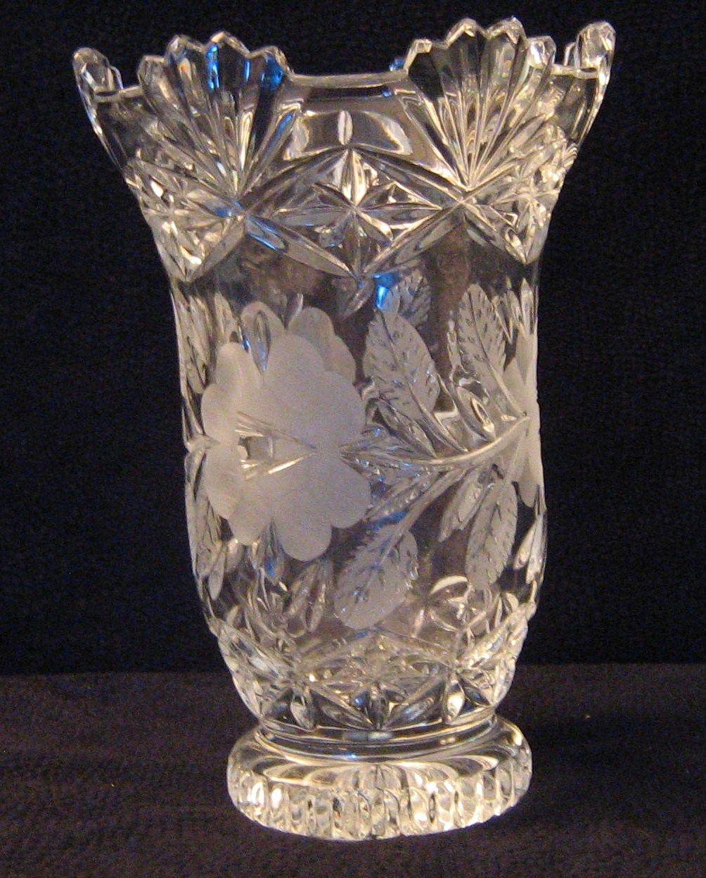 Large Crystal Vase Crystal Glassware Crystal Vase Engraved Crystal