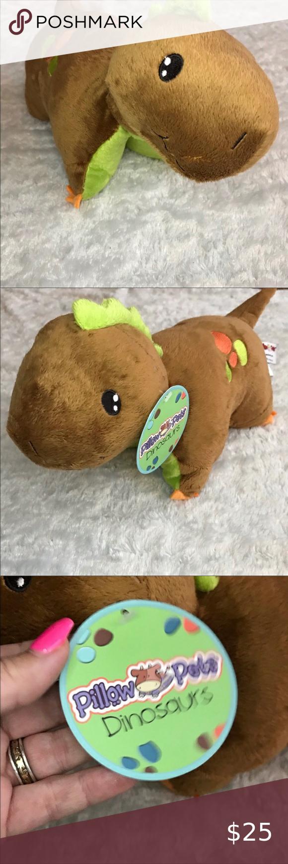 my pillow pet brown and green dinosaur