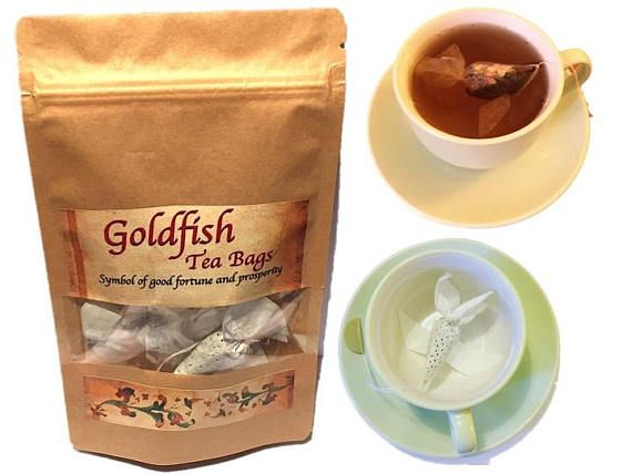 christmas gift 8 goldfish tea bags earl grey tea rose tea