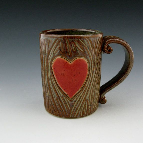 Pretty Carved Pattern: Enchanting Pottery Mug Enchanted Memories By  TwistedRiverClay