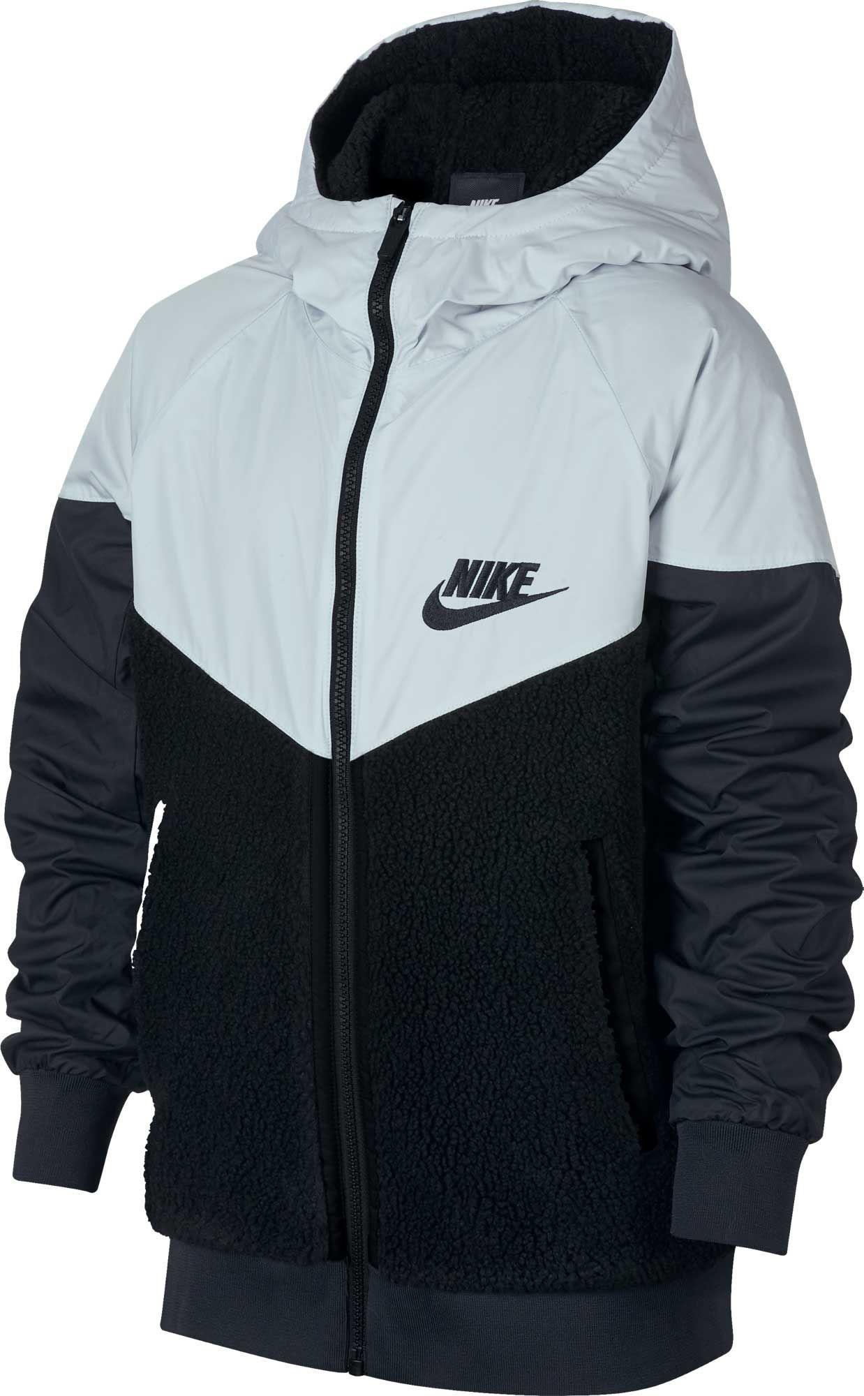 Nike Boys' Sportswear Sherpa Windrunner Jacket, Black   Faux