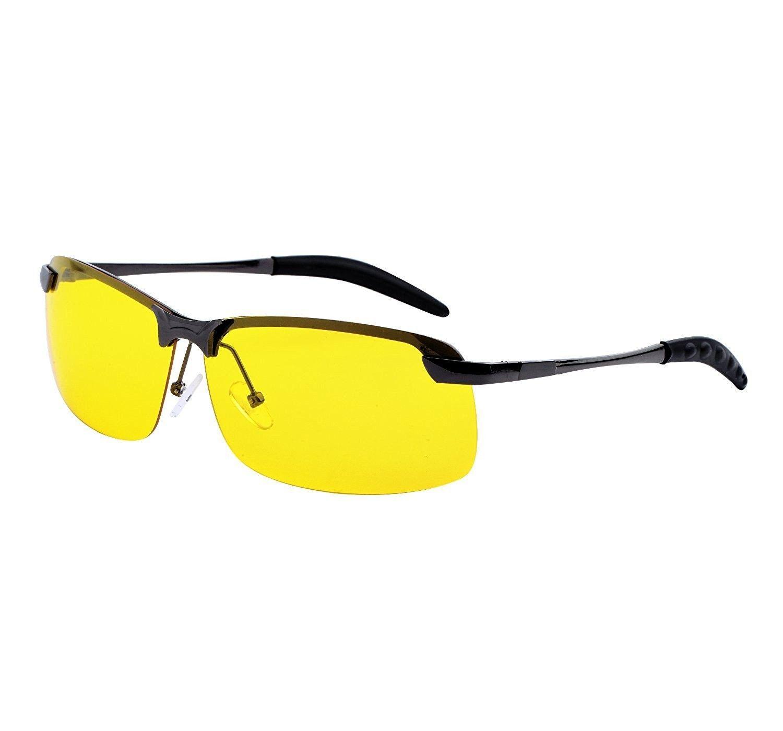 f10daab01c6 Rimless Unisex Polarized Night Vision Driving Glasses Goggles with Sturdy  Metal Frame - Gunmetal - CR188UW229K - Men s Sunglasses