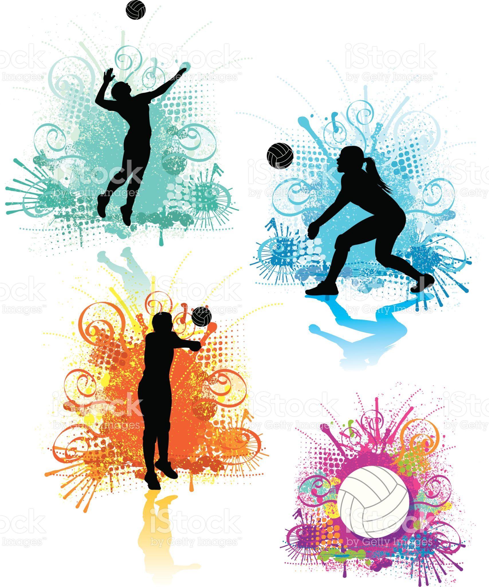 Volley Filles Graphics Stock Vecteur Libres De Droits Libre De Droits Fondo De Pantalla De Voleibol Dibujo De Voleibol Voleibol