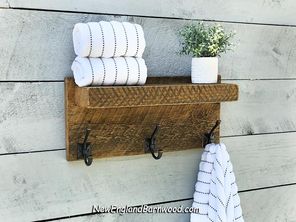 Combine Vintage And Modern Rustic Style Charm With This Stylish And Functional Rustic Farmhouse Bathroom To Bathroom Towel Hooks Towel Rack Towel Rack Bathroom
