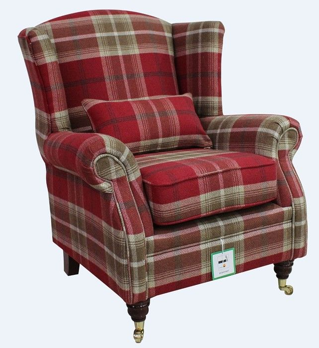 Wing Chair Fireside High Back Armchair Balmoral Red Check Fabric
