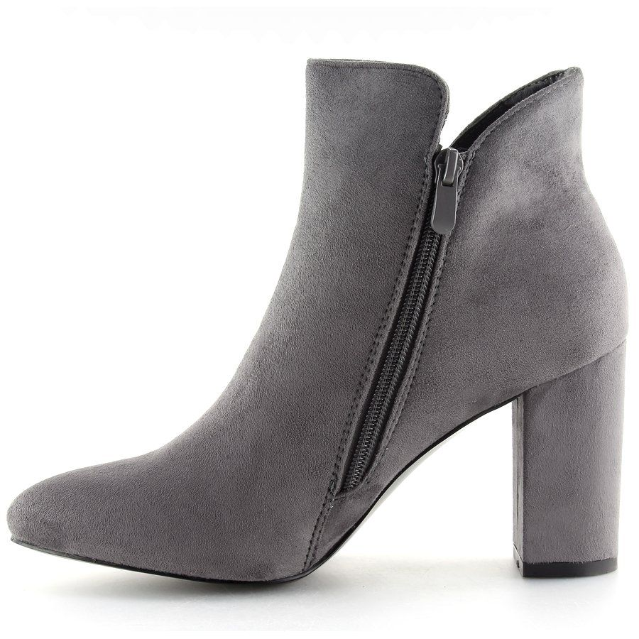 Botki Na Obcasie Szare 6900 Grey Shoes Women Heels Boots Boot Shoes Women