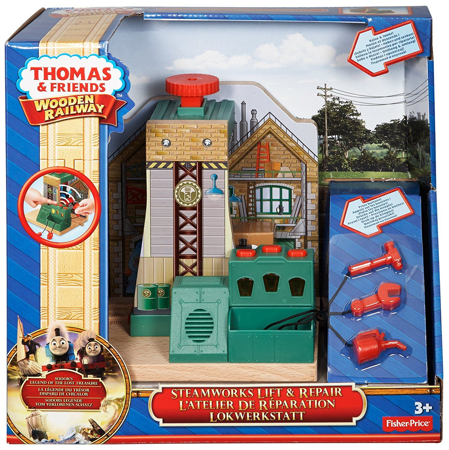 d8a1678da60d Amazon.com: Fisher-Price Thomas the Train Wooden Railway Steamworks Lift  and Repair Train Set: Toys & Games