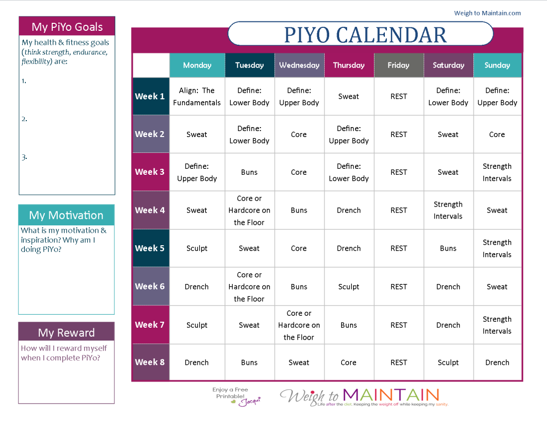 Chalene Johnson Piyo Workout Calendar  Printable Piyo Calendar