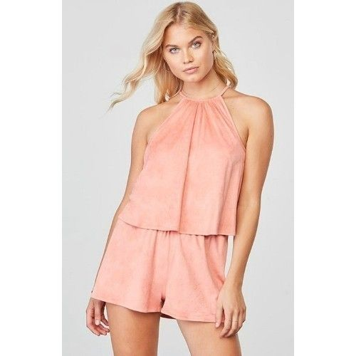 Flouncy Faux Suede Romper With Halter Neck  Thumbnail